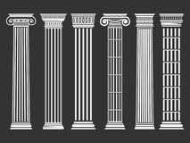 Roman and Greek columns set. Architecture image, history and culture concept. Classical buildings and shape. Vector flat style illustration  on black Royalty Free Stock Photos