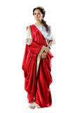 Roman-Greek goddesses, isolated on white. Roman-Greek woman in red dress, isolated on white background Royalty Free Stock Photo