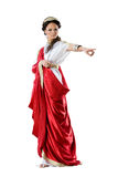 Roman-Greek goddesses, isolated on white. Roman-Greek woman in red dress, isolated on white background Stock Photos