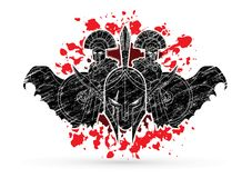 Roman or Greek Helmet , Spartan Helmet, and Angry Warrior composition graphic vector. Roman or Greek Helmet , Spartan Helmet, and Angry Warrior composition Stock Photo
