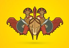 Roman or Greek Helmet , Spartan Helmet, and Angry Warrior composition graphic vector. Roman or Greek Helmet , Spartan Helmet, and Angry Warrior composition Royalty Free Stock Image