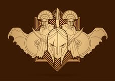 Roman or Greek Helmet , Spartan Helmet, and Angry Warrior composition graphic vector. Roman or Greek Helmet , Spartan Helmet, and Angry Warrior composition Royalty Free Stock Images