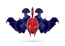 Roman or Greek Helmet , Spartan Helmet, and Angry Warrior composition graphic vector Royalty Free Stock Photography