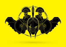 Roman or Greek Helmet , Spartan Helmet, and Angry Warrior composition graphic vector. Roman or Greek Helmet , Spartan Helmet, and Angry Warrior composition Stock Photos