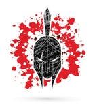 Roman or Greek Helmet , Spartan Helmet, Angry Warrior face cartoon graphic vector. Roman or Greek Helmet , Spartan Helmet, Angry Warrior face cartoon Stock Photos