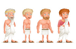 Roman Greek Retro Vintage Old Young Toga Loincloth Characters Icon Set Cartoon Design Vector Illustration. Roman Greek Retro Vintage Old Young Toga Loincloth stock illustration