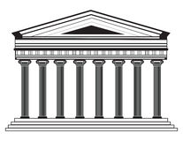 Roman/Griekse Vectorpantheontempel met Dorische kolommen Stock Fotografie