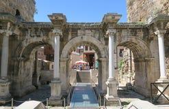 Roman Hadrians Gate a Adalia Oldtown Kaleici, Turchia Fotografia Stock