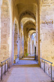 The roman hall. The narrow hall in ancient amphitheatre surrounds the arena, El Jem, Tunisia Royalty Free Stock Images