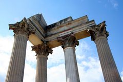Roman harbor temple. Closeup with a blue sky Stock Images