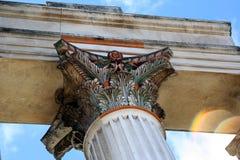 Roman Harbor Temple Closeup. Against a blue sky Royalty Free Stock Photo