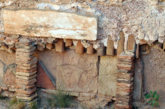 Roman Heating Pipes. Architectural details including heating pipes set in concrete at the Hadrianic Baths in the ruined city of Leptis Magna, Libya stock image