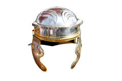 Roman helmet. Artificial model of a roman helmet - isolated on white background Stock Images