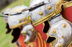 Roman helmet. Closeup of Roman soldier's helmet - galea Royalty Free Stock Images