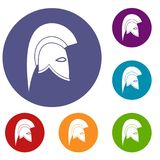 Roman helmet icons set. In flat circle reb, blue and green color for web Stock Photo