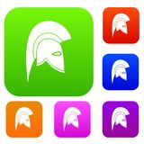 Roman helmet set collection. Roman helmet set icon in different colors isolated vector illustration. Premium collection Stock Photo