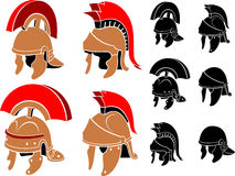 Roman Helmet Set Isolated Illustration. Medieval Soldier's Helm in different variation, isolated on white background Royalty Free Stock Image