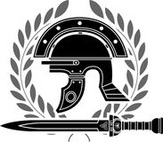 Roman helmet. Stencil fifth variant vector illustration royalty free illustration