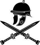 Roman helmet and swords Royalty Free Stock Photography