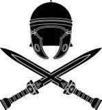 Roman helmet and swords Royalty Free Stock Photo