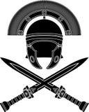 Roman helmet and swords. Stencil. vector illustration Stock Photos