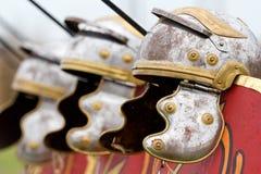 Roman helmets. Roman bronze military helmets used by legionaries Royalty Free Stock Images