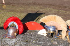 Roman soldiers helmets. Roman helmets with decorative colorful ridge Stock Image