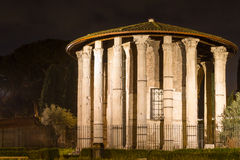 Roman Hercules temple at night Royalty Free Stock Photography