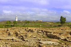 Roman heritage site in Paphos, Cyprus. Royalty Free Stock Images