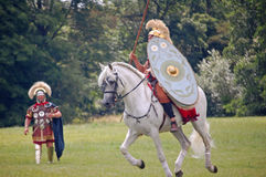 Roman Horse. Northampton, UK, JULY 17, 2011: Roman soldiers and horse at a Roman Imperial Army Reenactment in Northamptonshire Stock Photography