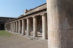Roman house. Architecture from ancient Roman times found in the archaeological excavations of Pompeii destination for both tourism royalty free stock photo