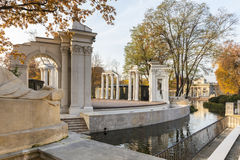 Roman inspired theater on the water in Lazienki Park in Warsaw Stock Photo
