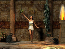 Roman Lady 02. A Roman girl plays with her green parrot in a palace courtyard Stock Image