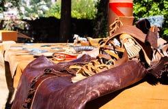 Roman leather sandal in La Turbie royalty free stock photography