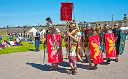 Roman legion at Fort George. Roman Legion marching at Fort George on 11 th and 12 th August 2012 in the Historic Scotland event ' Through the centuries Royalty Free Stock Image