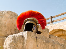 Roman Legionar's helmet. On the wall with arches in Jerash, Jordan Stock Images
