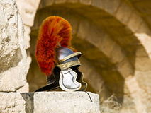 Roman Legionar's helmet. On the wall with arches in Jerash, Jordan Royalty Free Stock Photos