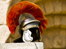 Roman Legionar's helmet. On the wall with arches in Jerash, Jordan Stock Image