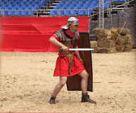 Roman legionaries. Who took part in the festival times and ages, which was held in Moscow, the era of the Roman Empire (Moscow 06.06.2015 - Festival time and royalty free stock images