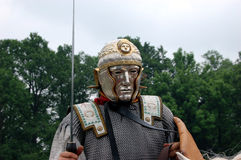 Roman legionary with parade mask Royalty Free Stock Images