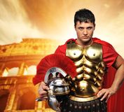 Roman legionary soldier. In front of coliseum Stock Images