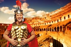Roman legionary soldier. In front of coliseum Stock Photography
