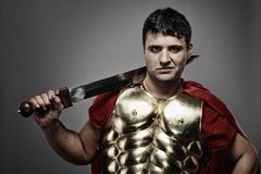 Roman legionary soldier. Picture of a Handsome roman legionary soldier Stock Photos