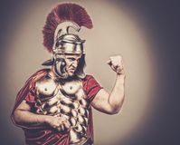 Roman legionary soldier. Angry legionary soldier in armour Royalty Free Stock Photography