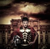 Roman legionary soldier. In front of Trevi fountain Royalty Free Stock Photos