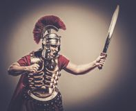 Roman legionary soldier. Legionary soldier ready for a war Stock Images