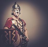 Roman legionary soldier. Legionary soldier ready for a war Royalty Free Stock Photo