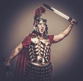 Roman legionary soldier. Legionary soldier ready for a war Stock Photo