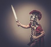 Roman legionary soldier. Legionary soldier ready for a war Royalty Free Stock Images