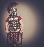 Roman legionary soldier. Legionary soldier with a  shield Royalty Free Stock Photography